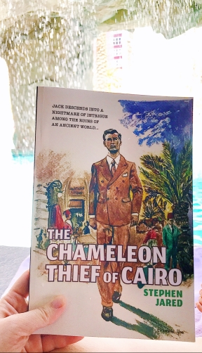 Reading Stephen Jared's THE CHAMELEON THIEF OF CAIRO at the Flamingo in Las Vegas