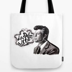 Fellini's La Dolce Vita (Marcello Mastroianni): Italian Cinema Tote Bag